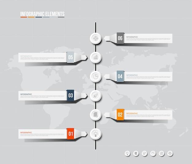 Modello di elementi colorati infografica, concetto di affari con 5 opzioni