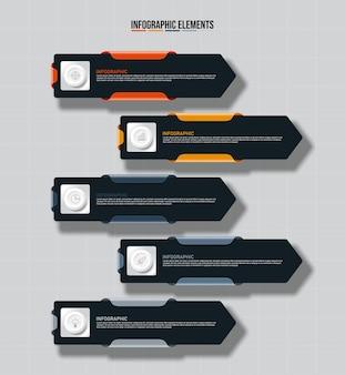 Modello di elementi colorati infografica, concetto di affari con 5 opzioni.