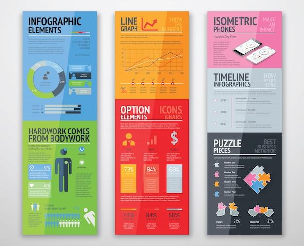 Infografici colorati in modelli ben organizzati pronti per l'uso