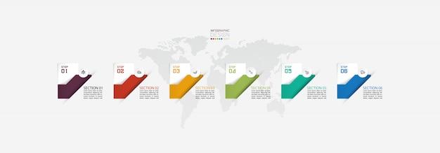 Infografiche colorate con mappa del mondo