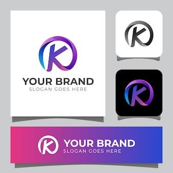 Lettera iniziale colorata k combina il design del logo circolare