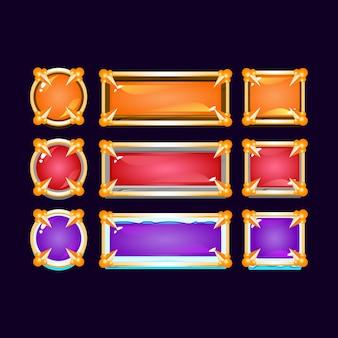 Pulsante di ghiaccio in pietra di legno di gelatina colorata gui con bordo medievale dorato per elementi di asset dell'interfaccia utente del gioco Vettore Premium