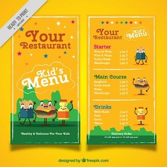 Menù colorato per bambini con personaggi divertenti in design piatto
