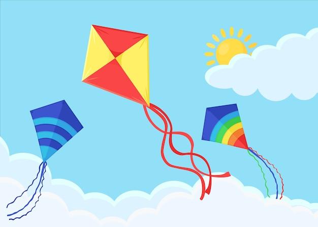 Aquilone colorato vola nel cielo blu con nuvole. vacanze estive.
