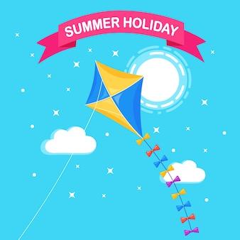 Aquilone colorato che vola nel cielo blu, sole sullo sfondo. estate, vacanze primaverili, giocattolo per bambini.
