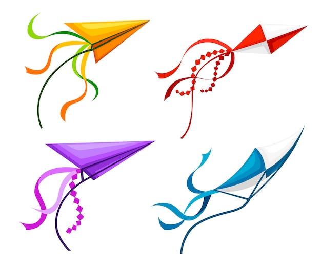 Set di aquiloni colorati. oggetti di attività estive all'aperto. simpatici giocattoli volanti. intrattenimento per l'infanzia durante le vacanze. illustrazione su sfondo bianco.