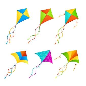 Set di aquiloni colorati
