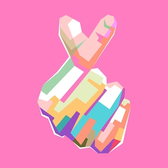 Colorato cuore coreano segno pop art ritratto design