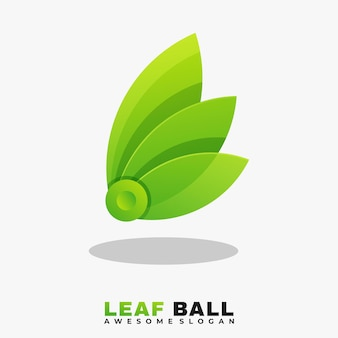 Modello di vettore dell'illustrazione del logo colorato foglia e palla