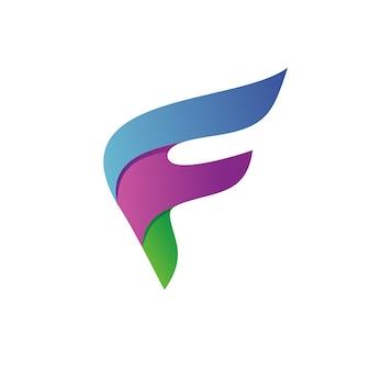 Logo colorato lettera f. Vettore Premium