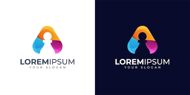Lettera colorata a e ispirazione per il design del logo del pedone. logo di scacchi