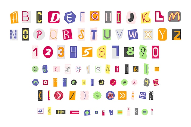 Numeri di lettere colorate e segni di punteggiatura
