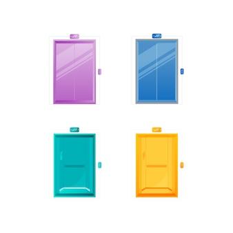 Set di oggetti colorati di colore piatto porte ascensore. vari ingressi per ascensori. uscita interna alla lobby. fumetto isolato cancello chiuso del pannello