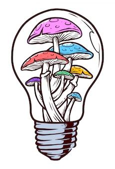 Illustrazione di funghi di luce colorata