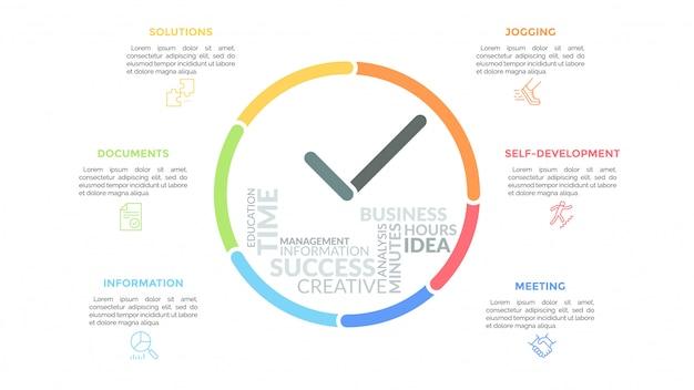 Linee colorate che formano l'orologio con le mani e la nuvola di parole al suo interno circondato da icone e caselle di testo. concetto di gestione del tempo e pianificazione efficace.