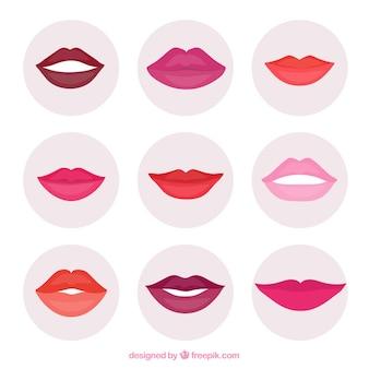 Collezione di labbra colorate con design piatto