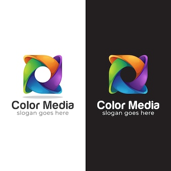 Logo colorato design del simbolo del cerchio astratto, logo della lettera o Vettore Premium