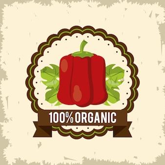 Logo colorato di alimenti biologici con peperoni