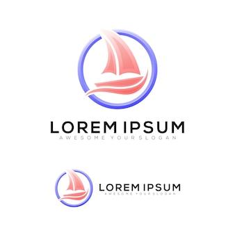 Illustrazione di veliero logo colorato