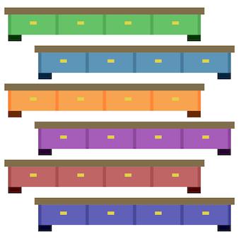 Armadietti in legno colorati lunghi con scaffale elemento icona gioco piatto illustrazione asset