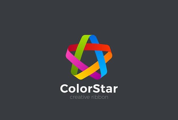Icona di logo colorato nastro ad anello. Vettore Premium