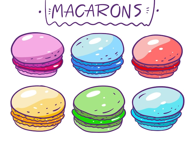Macarons colorati insieme di raccolta illustrazione