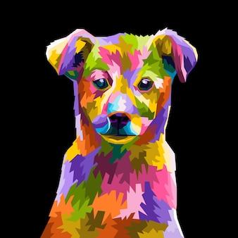 Testa di cane maltese colorato con un fantastico stile pop art isolato