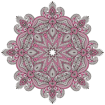 Modello colorato mandala di elementi floreali all'henné basati su ornamenti tradizionali asiatici.