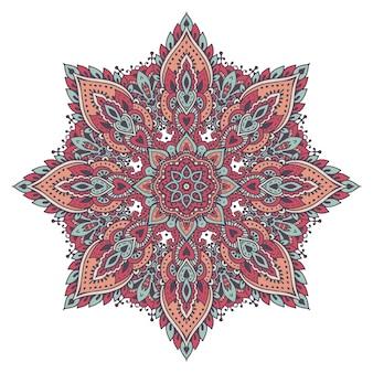 Motivo a mandala colorato di elementi floreali all'henné basato sul tradizionale