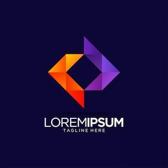 Modello di progettazione di logo vibrante astratto colorato di media