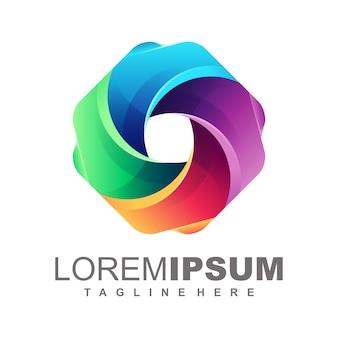 Media colorati logo design vector
