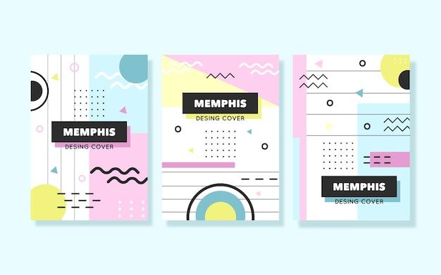 Collezione di copertine colorate di design di memphis