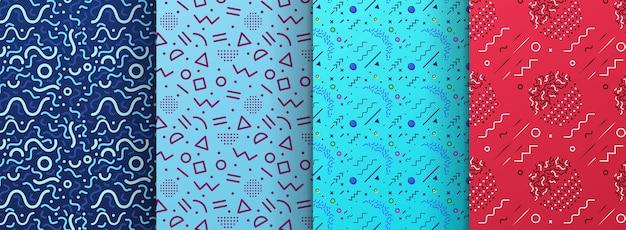 Modelli senza cuciture colorati di memphis disponibili nel pannello campioni