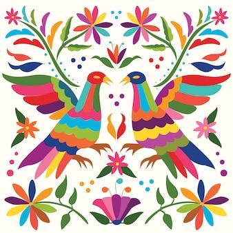 Composizione di uccelli messicani colorati, stile ricamo tessile da tenango, hidalgo; messico