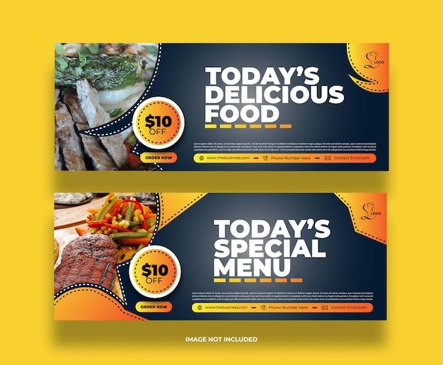 Banner di promozione post social media ristorante cibo astratto minimo colorato