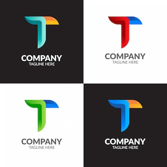 Minimalista colorato lettera t logo design