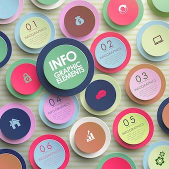 Modello di elementi infografici cerchio di carta moderno colorato