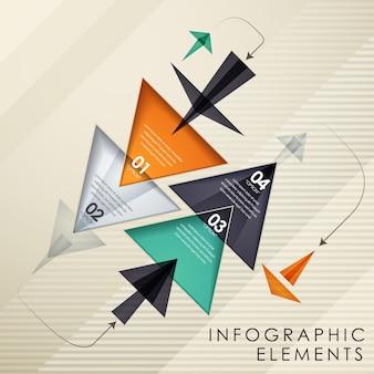 Modello di elementi infografici a forma di triangolo moderno colorato