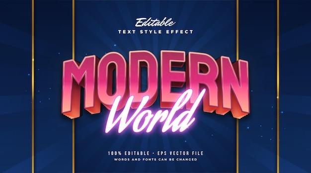 Stile di testo colorato mondo moderno con effetto in rilievo e al neon. effetto stile testo modificabile