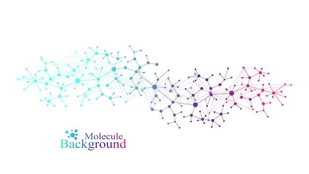 Sfondo di molecole colorate. elica del dna, filamento del dna, test del dna. molecola o atomo, neuroni. struttura astratta per scienza o sfondo medico, banner. illustrazione vettoriale molecolare scientifica.