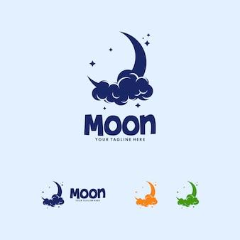 Modello di progettazione di logo di luna colorata