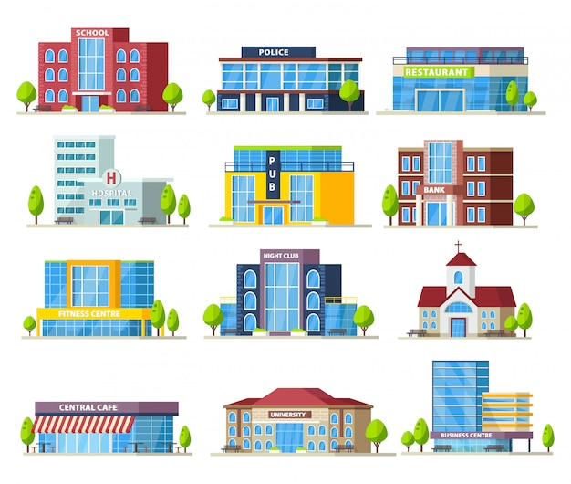 Collezione di edifici municipali colorati