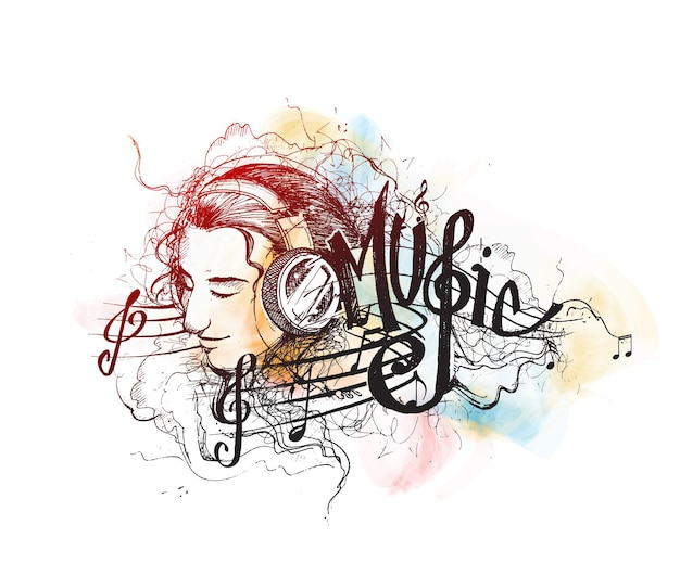 Sfondo colorato di musica la ragazza di vettore ascolta l'illustrazione del fumetto di musica isolata su white