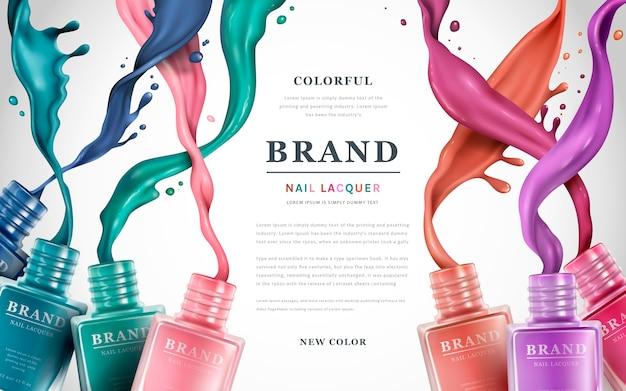 Annunci colorati di smalto per unghie