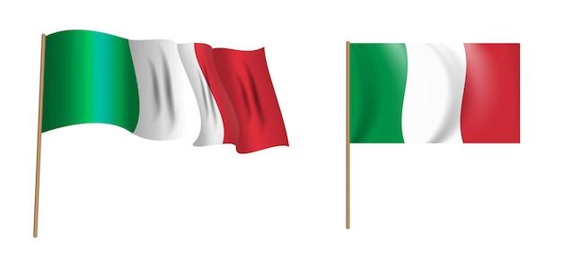 Bandiera sventolante naturalistica colorata d'italia.
