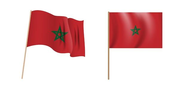 Colorata bandiera sventolante naturalistica del regno del marocco