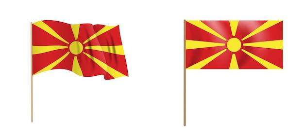Naturalistico colorato sventola bandiera della macedonia.