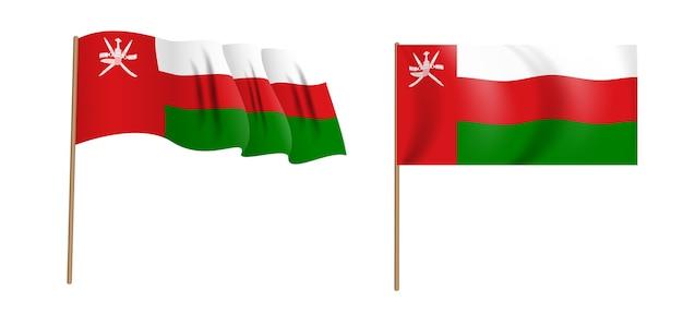 Colorata bandiera sventolante naturalistica del sultanato di oman.
