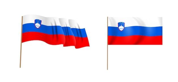 Naturalistico colorato sventola bandiera della slovenia.