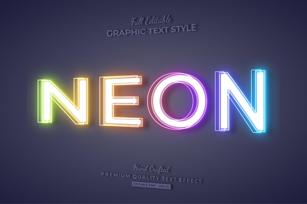 Stile del carattere di effetto testo modificabile al neon colorato 3d